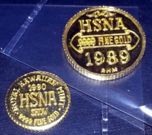 "Left is the ""newly identified 10mm gold pattern"". Right is the 13mm 1989 HSNA gold coin"