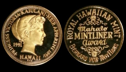 1991 Kaiulani 21mm (size of 1/4 oz gold) Bronze Pattern