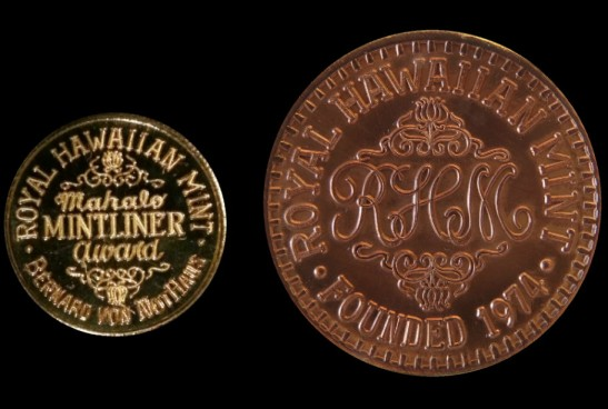 Design Recognition - 1991 Kaiulani Mahalo Mintliner Award Medal